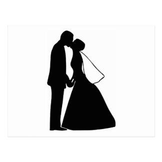 キスの新郎新婦のシルエットの結婚 ポストカード