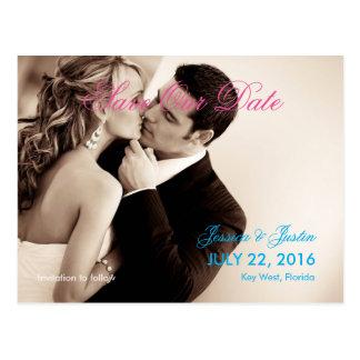キスの結婚式のセピア色をつなぎますか、または日付を救って下さい ポストカード