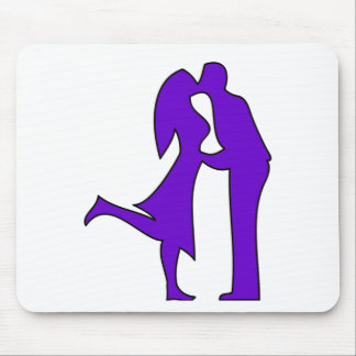 キスをするなカップルのシルエット マウスパッド