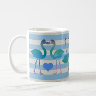 キスをするなフラミンゴのレトロのコーヒー・マグ(スカイブルー) コーヒーマグカップ
