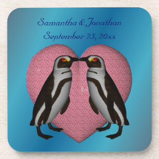 キスをするなペンギンのかわいい結婚式のコースターセット コースター