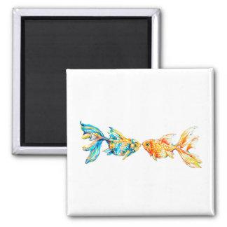 キスをするな水彩画の金魚のカスタムの磁石 マグネット