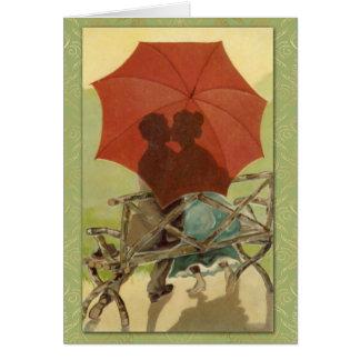 """""""キス""""の1907年のヴィンテージの郵便はがきの芸術及びダマスク織 カード"""