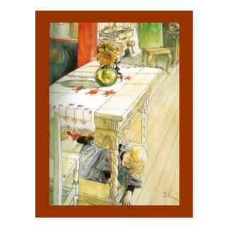 キッチン・テーブルの下の女の子 ポストカード