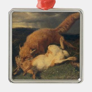 キツネおよびノウサギ1866年 メタルオーナメント