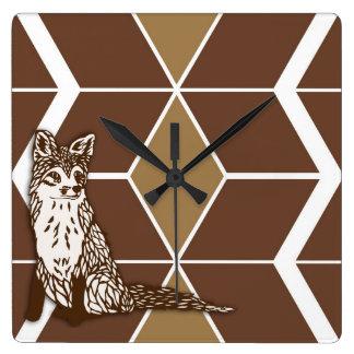 キツネのシェブロンの時計 スクエア壁時計