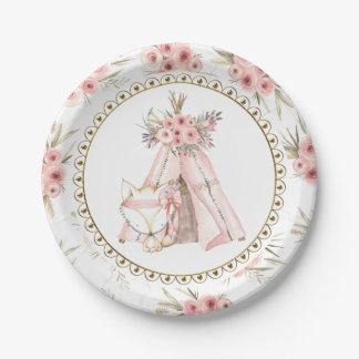キツネのテント小屋の種族のベビーシャワーの紙皿 ペーパープレート