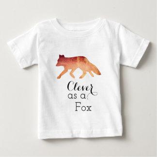 キツネの印刷の水彩画として利発 ベビーTシャツ