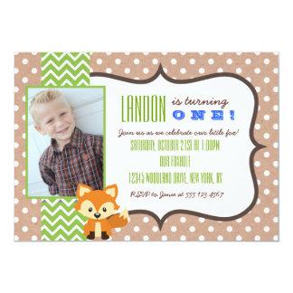 キツネの森林最初誕生日のパーティの招待状 カード