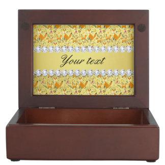 キツネの模造のな金ゴールドホイルのきらきら光るなダイヤモンド ジュエリーボックス