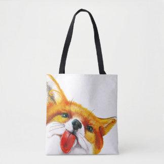 キツネの水彩画 トートバッグ