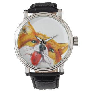 キツネの水彩画 腕時計