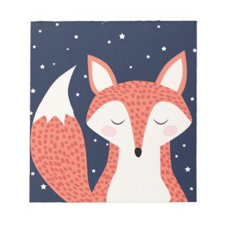 キツネの睡眠夜星 ノートパッド