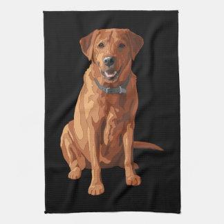 キツネの赤く黄色いラブラドル・レトリーバー犬犬 キッチンタオル