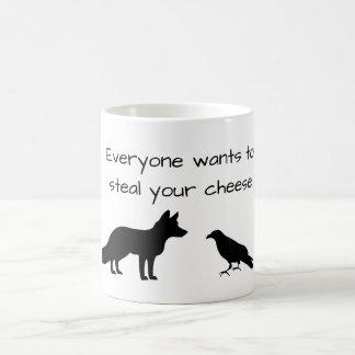 キツネ及びカラス コーヒーマグカップ