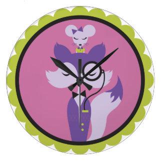 キツネ及びマウスの時計 ラージ壁時計