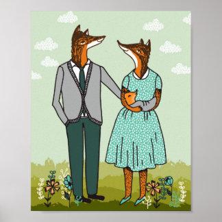 キツネ家族の芸術のプリント ポスター