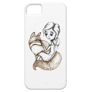 「キツネ抱擁」の図解入りの、写真付きのなiphoneの場合 iPhone SE/5/5s ケース