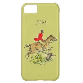 キツネ狩りのジャンパーのハンターの馬のカスタムなカーキ色色 iPhone5Cケース
