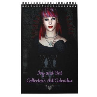 キヅタおよびこうもりのコレクターの芸術のカレンダー カレンダー