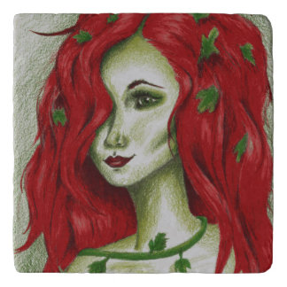 キヅタのニンフのセクシーな赤毛の女性のファンタジーのオリジナルの芸術 トリベット