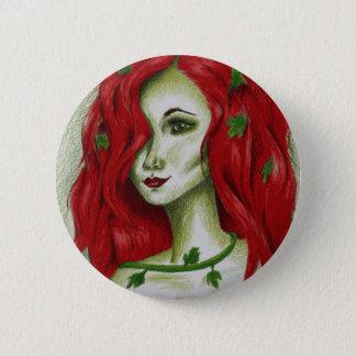 キヅタのニンフのセクシーな赤毛の女性のポートレートのファンタジーの芸術 5.7CM 丸型バッジ