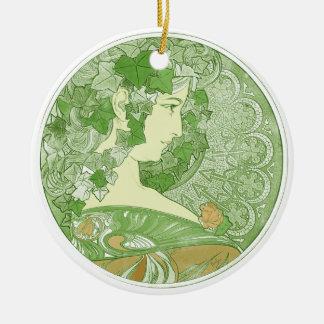 キヅタのヴィンテージのミュシャの芸術 陶器製丸型オーナメント