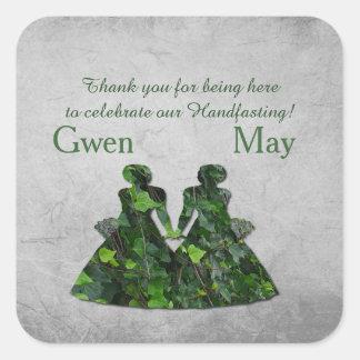 キヅタの緑の女性Handfastingはステッカー感謝していしています スクエアシール