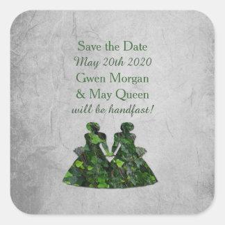 キヅタの緑の女性Handfasting保存日付のステッカー スクエアシール