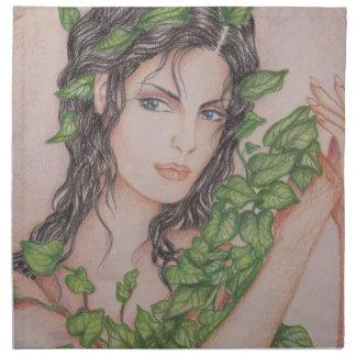 キヅタの花嫁の女の子のポートレートの鉛筆の芸術のイラストレーション ナプキンクロス