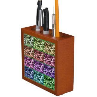キヅタの葉の写真の芸術の進行の机のオーガナイザー ペンスタンド
