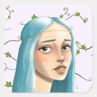 キヅタの青い毛の娘 スクエアシール
