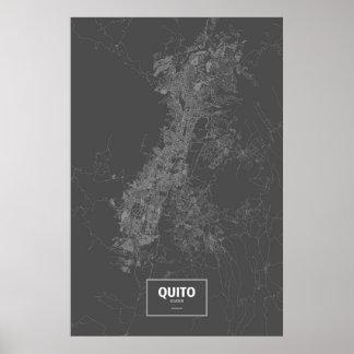 キト、エクアドル(黒で白い) ポスター