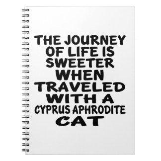 キプロスのアフロディーテ猫と走行される ノートブック