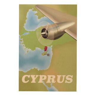 キプロスの地図のヴィンテージ旅行ポスター ウッドウォールアート