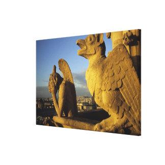 キメラ、貴婦人に関してCathedral、パリ、フランス キャンバスプリント