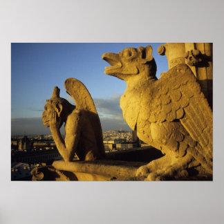 キメラ、貴婦人に関してCathedral、パリ、フランス ポスター