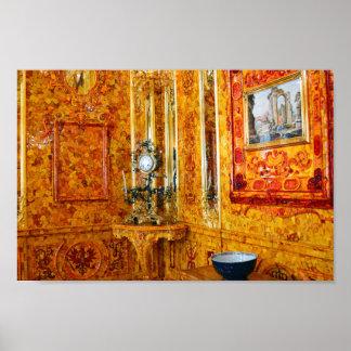 キャサリン宮殿、ロシア12x8のこはく色部屋 ポスター