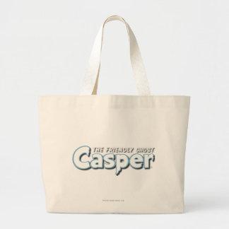 キャスパーの白のロゴ ラージトートバッグ