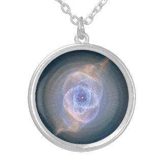 キャッツ・アイの星雲のネックレス シルバープレートネックレス