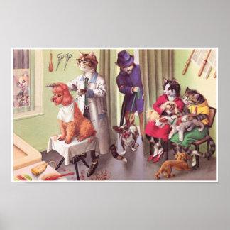 キャットウォーク: 理容師ポスター芸術   のブルドッグ ポスター