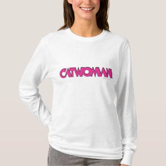 キャットウーマンのロゴのピンク Tシャツ