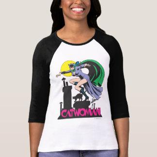 キャットウーマン及びロゴのピンク Tシャツ