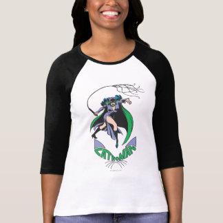 キャットウーマン及びロゴの緑 Tシャツ
