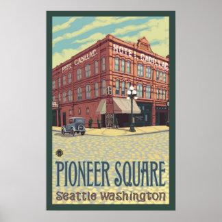 キャデラックのホテル-先駆的正方形のシアトルのWAポスター ポスター