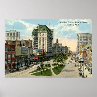 キャデラックスクエア、デトロイトミシガン州の1915年のヴィンテージ ポスター