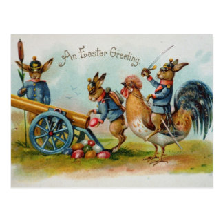 キャノンの軍のイースターのウサギの卵 ポストカード