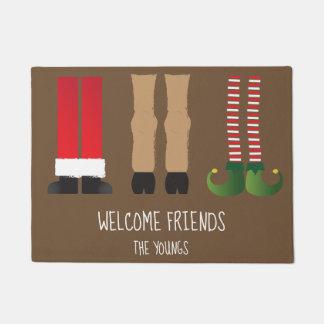 キャラクターが付いているクリスマスのテーマのドアマット ドアマット