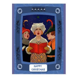 キャロルの歌うこと-静かな夜伝統的なクリスマスカード ポストカード