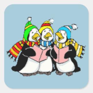 キャロルの歌うペンギン子供引くこと スクエアシール
